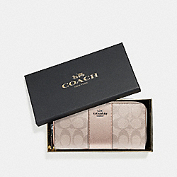 COACH F39131 Boxed Accordion Zip Wallet In Signature Canvas PLATINUM/SILVER