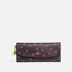 COACH F39133 Boxed Soft Wallet With Star Print And Charms BLACK/MULTI/LIGHT GOLD