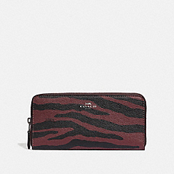 COACH F39137 Slim Accordion Zip Wallet With Tiger Print DARK RED/BLACK ANTIQUE NICKEL