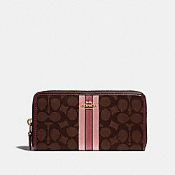 COACH F39139 Accordion Zip Wallet In Signature Jacquard With Stripe BROWN MULTI/IMITATION GOLD