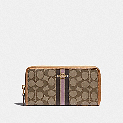 ACCORDION ZIP WALLET IN SIGNATURE JACQUARD WITH STRIPE - F39139 - KHAKI MULTI /LIGHT GOLD