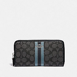 ACCORDION ZIP WALLET IN SIGNATURE JACQUARD WITH STRIPE - F39139 - BLACK/MULTI/SILVER