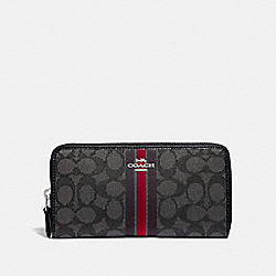 ACCORDION ZIP WALLET IN SIGNATURE JACQUARD WITH STRIPE - F39139 - SV/RED MULTI