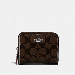 COACH F39140 Small Zip Around Wallet In Signature Canvas BROWN/RED/SILVER