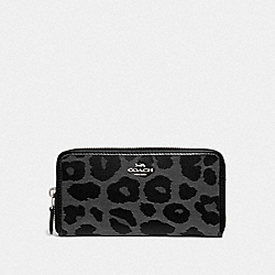 COACH F39141 Accordion Zip Wallet With Leopard Print GREY/SILVER