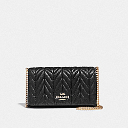 CROSSBODY WITH QUILTING - F39142 - BLACK/LIGHT GOLD