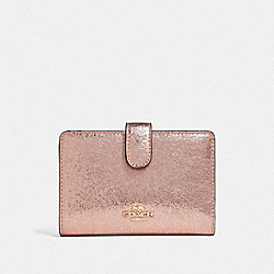 COACH F39144 Medium Corner Zip Wallet ROSE GOLD/LIGHT GOLD