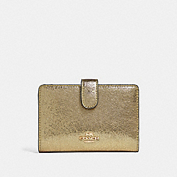 COACH F39144 Medium Corner Zip Wallet WHITE GOLD/LIGHT GOLD