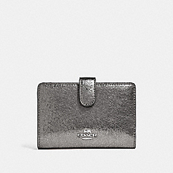 COACH F39144 Medium Corner Zip Wallet GUNMETAL/SILVER
