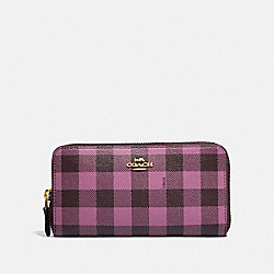 ACCORDION ZIP WALLET WITH GINGHAM PRINT - F39145 - PRIMROSE/MULTI/LIGHT GOLD