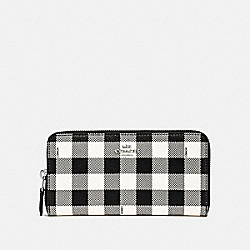 COACH F39145 Accordion Zip Wallet With Gingham Print BLACK/MULTI/SILVER