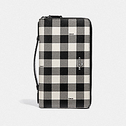 COACH F39148 - DOUBLE ZIP TRAVEL WALLET WITH GINGHAM PRINT BLACK/MULTI/SILVER