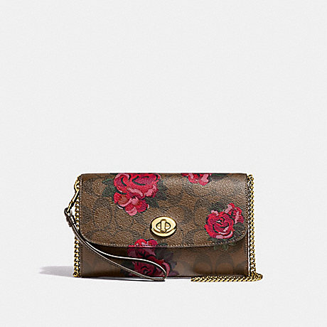 COACH F39149 CHAIN CROSSBODY IN SIGNATURE CANVAS WITH JUMBO FLORAL PRINT<br>蔻驰链论在签名画布上巨型花纹 卡其/红棕色多/浅黄金