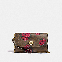 CHAIN CROSSBODY IN SIGNATURE CANVAS WITH JUMBO FLORAL PRINT - F39149 - KHAKI/OXBLOOD MULTI/LIGHT GOLD
