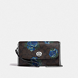 CHAIN CROSSBODY IN SIGNATURE CANVAS WITH JUMBO FLORAL PRINT - F39149 - BROWN BLACK/MULTI/SILVER