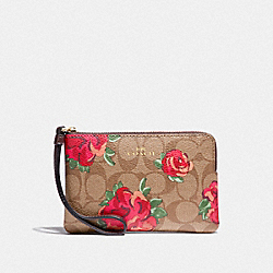 CORNER ZIP WRISTLET IN SIGNATURE CANVAS WITH JUMBO FLORAL PRINT - F39150 - KHAKI/OXBLOOD MULTI/LIGHT GOLD