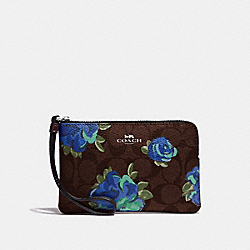 CORNER ZIP WRISTLET IN SIGNATURE CANVAS WITH JUMBO FLORAL PRINT - F39150 - BROWN BLACK/MULTI/SILVER