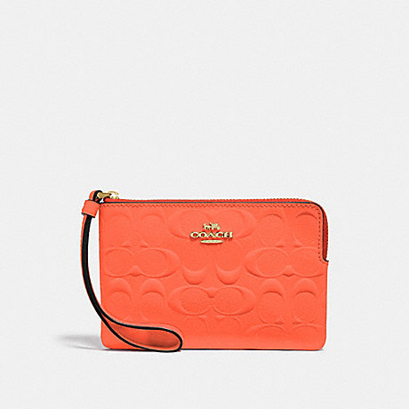 COACH F39151 CORNER ZIP WRISTLET IN SIGNATURE LEATHER NEON ORANGE/LIGHT GOLD