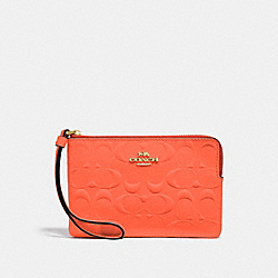CORNER ZIP WRISTLET IN SIGNATURE LEATHER - F39151 - NEON ORANGE/LIGHT GOLD