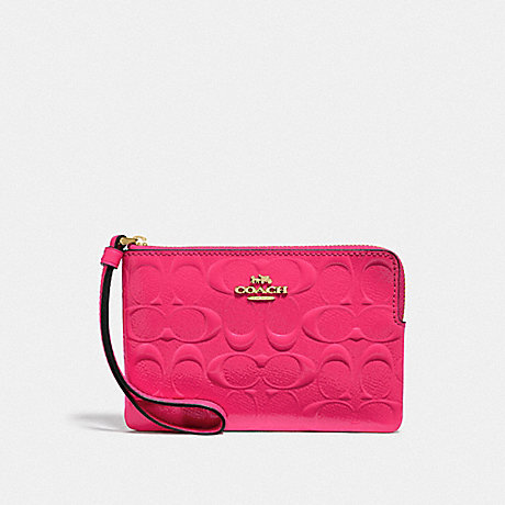 COACH F39151 CORNER ZIP WRISTLET IN SIGNATURE LEATHER NEON PINK/LIGHT GOLD