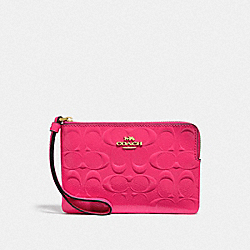 CORNER ZIP WRISTLET IN SIGNATURE LEATHER - F39151 - NEON PINK/LIGHT GOLD