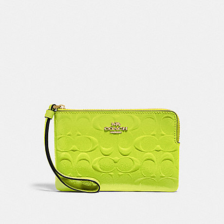 COACH F39151 CORNER ZIP WRISTLET IN SIGNATURE LEATHER NEON YELLOW/LIGHT GOLD