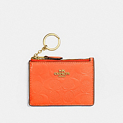 COACH F39152 - MINI SKINNY ID CASE IN SIGNATURE LEATHER NEON ORANGE/LIGHT GOLD