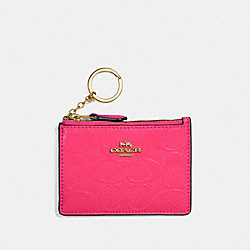 COACH F39152 - MINI SKINNY ID CASE IN SIGNATURE LEATHER NEON PINK/LIGHT GOLD