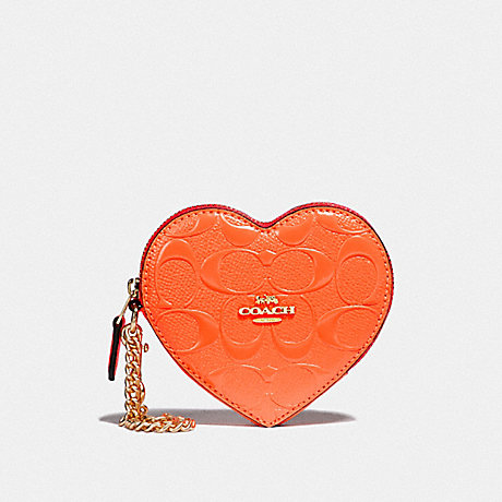 COACH F39153 HEART COIN CASE IN SIGNATURE LEATHER NEON ORANGE/LIGHT GOLD
