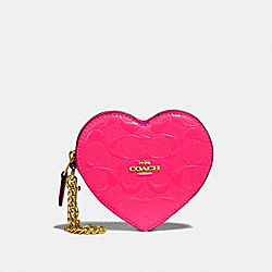 COACH F39153 Heart Coin Case In Signature Leather NEON PINK/LIGHT GOLD