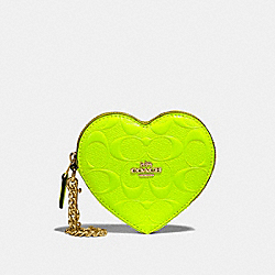 COACH F39153 Heart Coin Case In Signature Leather NEON YELLOW/LIGHT GOLD