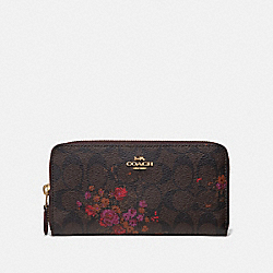 COACH F39156 Accordion Zip Wallet In Signature Canvas With Floral Bundle Print BROWN/METALLIC CURRANT/LIGHT GOLD
