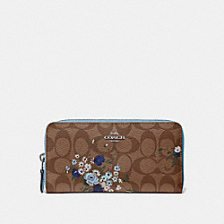 COACH F39156 Accordion Zip Wallet In Signature Canvas With Floral Bundle Print KHAKI BLUE MULTI/SILVER