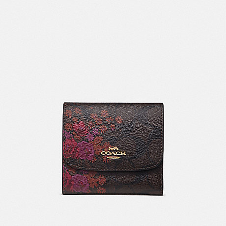 COACH F39157 SMALL WALLET IN SIGNATURE CANVAS WITH FLORAL BUNDLE PRINT BROWN/METALLIC CURRANT/LIGHT GOLD