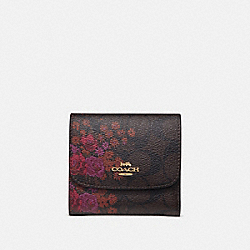 COACH F39157 - SMALL WALLET IN SIGNATURE CANVAS WITH FLORAL BUNDLE PRINT BROWN/METALLIC CURRANT/LIGHT GOLD
