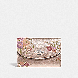 COACH F39161 - KEY CASE WITH FLORAL BUNDLE PRINT PLATINUM MULTI/SILVER