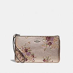 COACH F39162 Large Wristlet With Floral Bundle Print PLATINUM MULTI/SILVER