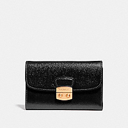 COACH F39164 Avary Medium Envelope Wallet BLACK/LIGHT GOLD