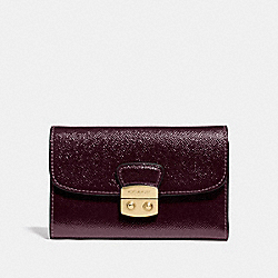 COACH F39164 Avary Medium Envelope Wallet OXBLOOD 1/LIGHT GOLD