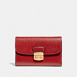 COACH F39164 Avary Medium Envelope Wallet RUBY/LIGHT GOLD