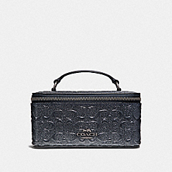 COACH F39166 - VANITY CASE IN SIGNATURE LEATHER CHARCOAL/BLACK ANTIQUE NICKEL