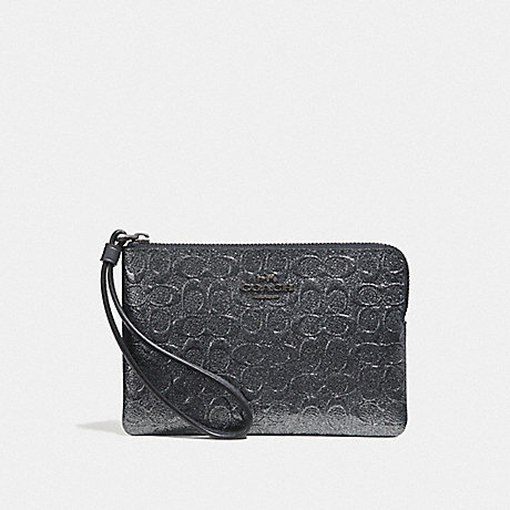 COACH F39168 CORNER ZIP WRISTLET IN SIGNATURE LEATHER CHARCOAL/BLACK ANTIQUE NICKEL