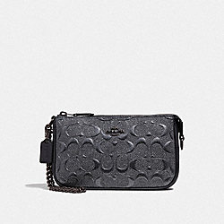 COACH F39169 - LARGE WRISTLET 19 IN SIGNATURE LEATHER CHARCOAL/BLACK ANTIQUE NICKEL