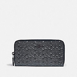COACH F39171 - ACCORDION ZIP WALLET IN SIGNATURE LEATHER CHARCOAL/BLACK ANTIQUE NICKEL