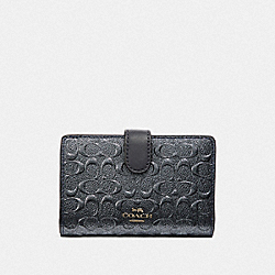 COACH F39172 Medium Corner Zip Wallet In Signature Leather CHARCOAL/BLACK ANTIQUE NICKEL