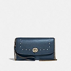 CHAIN CROSSBODY WITH LACQUER RIVETS - F39175 - DENIM/LIGHT GOLD