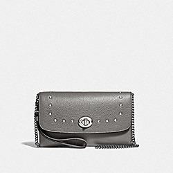 COACH F39175 Chain Crossbody With Lacquer Rivets HEATHER GREY/SILVER