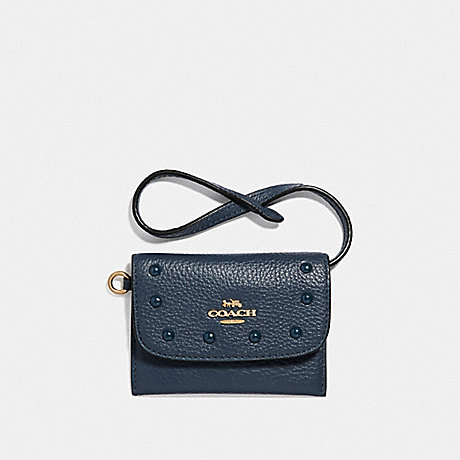 COACH F39176 CARD POUCH WITH LACQUER RIVETS DENIM/LIGHT GOLD