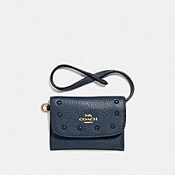 CARD POUCH WITH LACQUER RIVETS - F39176 - DENIM/LIGHT GOLD