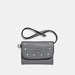 COACH F39176 - CARD POUCH WITH LACQUER RIVETS HEATHER GREY/SILVER